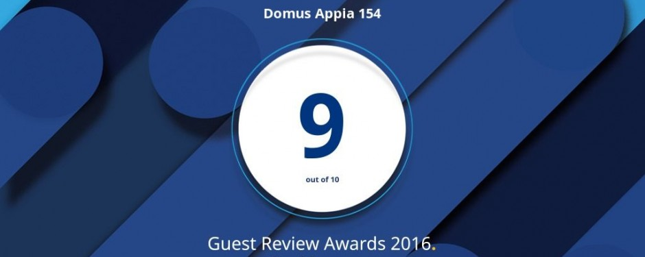 "Domus Appia 154 wins the ""Guest reviews Awards 2016″"